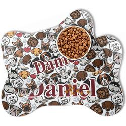 Dog Faces Bone Shaped Dog Food Mat (Personalized)