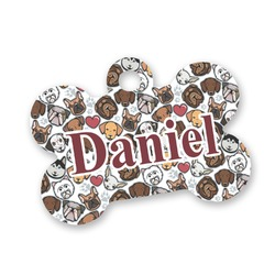 Dog Faces Bone Shaped Dog Tag (Personalized)