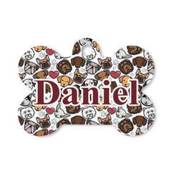 Dog Faces Bone Shaped Dog Tag (Personalized)