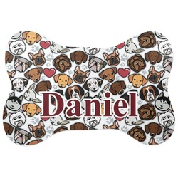Dog Faces Bone Shaped Dog Food Mat (Personalized)