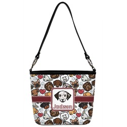 Dog Faces Bucket Bag w/ Genuine Leather Trim (Personalized)