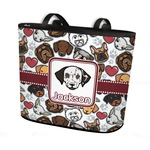 Dog Faces Bucket Tote w/ Genuine Leather Trim (Personalized)
