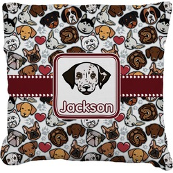 """Dog Faces Faux-Linen Throw Pillow 26"""" (Personalized)"""