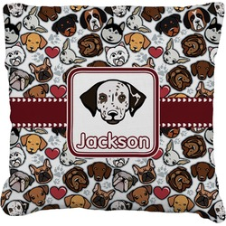 Dog Faces Faux-Linen Throw Pillow (Personalized)