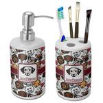 Dog Faces Bathroom Accessories Set (Ceramic) (Personalized)