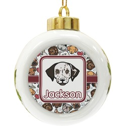 Dog Faces Ceramic Ball Ornament (Personalized)