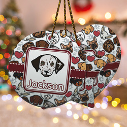 Dog Faces Ceramic Ornament - Double Sided w/ Name or Text