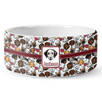 Dog Faces Ceramic Pet Bowl (Personalized)