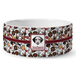Dog Faces Ceramic Dog Bowl (Personalized)