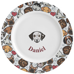 Dog Faces Ceramic Dinner Plates (Set of 4) (Personalized)