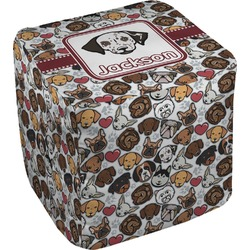 Dog Faces Cube Pouf Ottoman (Personalized)