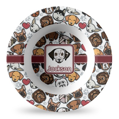 Dog Faces Plastic Bowl - Microwave Safe - Composite Polymer (Personalized)