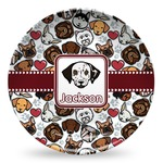 Dog Faces Microwave Safe Plastic Plate - Composite Polymer (Personalized)