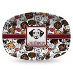 Dog Faces Plastic Platter - Microwave & Oven Safe Composite Polymer (Personalized)