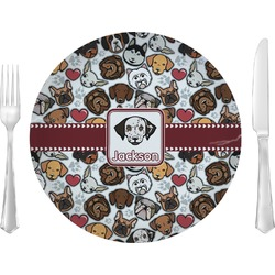 "Dog Faces Glass Lunch / Dinner Plates 10"" - Single or Set (Personalized)"