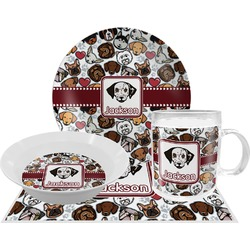 Dog Faces Dinner Set - 4 Pc (Personalized)