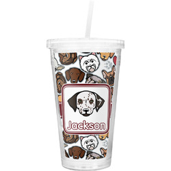 Dog Faces Double Wall Tumbler with Straw (Personalized)