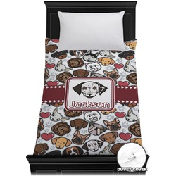 Dog Faces Duvet Cover - Twin (Personalized)