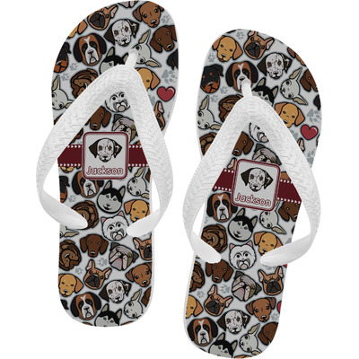 Dog Faces Flip Flops - XSmall (Personalized)