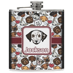 Dog Faces Genuine Leather Flask (Personalized)