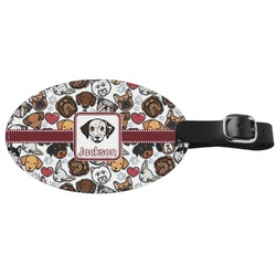 Dog Faces Genuine Leather Oval Luggage Tag (Personalized)