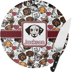 Dog Faces Round Glass Cutting Board (Personalized)