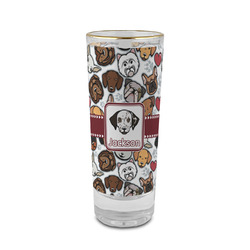 Dog Faces 2 oz Shot Glass - Glass with Gold Rim (Personalized)