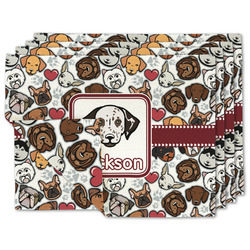 Dog Faces Linen Placemat w/ Name or Text