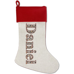 Dog Faces Red Linen Stocking (Personalized)