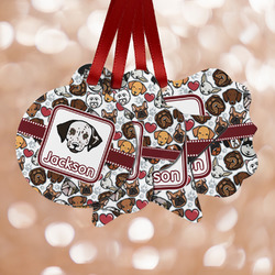 Dog Faces Metal Ornaments - Double Sided w/ Name or Text