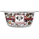 Dog Faces Stainless Steel Dog Bowl (Personalized)