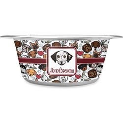 Dog Faces Stainless Steel Pet Bowl (Personalized)