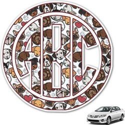 Dog Faces Monogram Car Decal (Personalized)