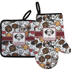 Dog Faces Oven Mitt & Pot Holder (Personalized)