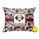 Dog Faces Outdoor Throw Pillow (Rectangular) (Personalized)
