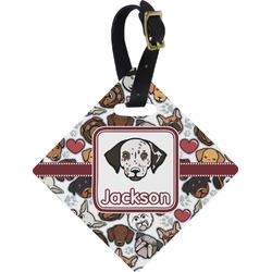 Dog Faces Diamond Luggage Tag (Personalized)