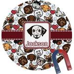 Dog Faces Round Fridge Magnet (Personalized)