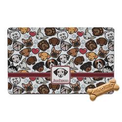 Dog Faces Pet Bowl Mat (Personalized)