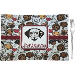 Dog Faces Glass Rectangular Appetizer / Dessert Plate (Personalized)