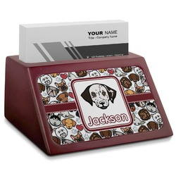 Dog Faces Red Mahogany Business Card Holder (Personalized)
