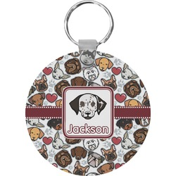 Dog Faces Round Keychain (Personalized)
