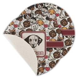 Dog Faces Round Linen Placemat (Personalized)