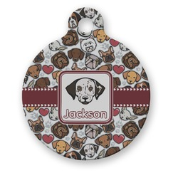Dog Faces Round Pet Tag (Personalized)