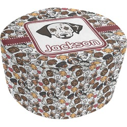 Dog Faces Round Pouf Ottoman (Personalized)