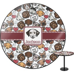 """Dog Faces Round Table - 24"""" (Personalized)"""