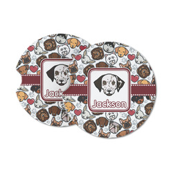 Dog Faces Sandstone Car Coasters (Personalized)