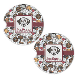 Dog Faces Sandstone Car Coasters - Set of 2 (Personalized)