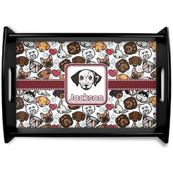Dog Faces Black Wooden Tray (Personalized)