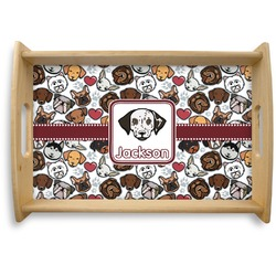 Dog Faces Natural Wooden Tray (Personalized)