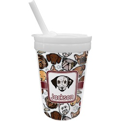 Dog Faces Sippy Cup with Straw (Personalized)